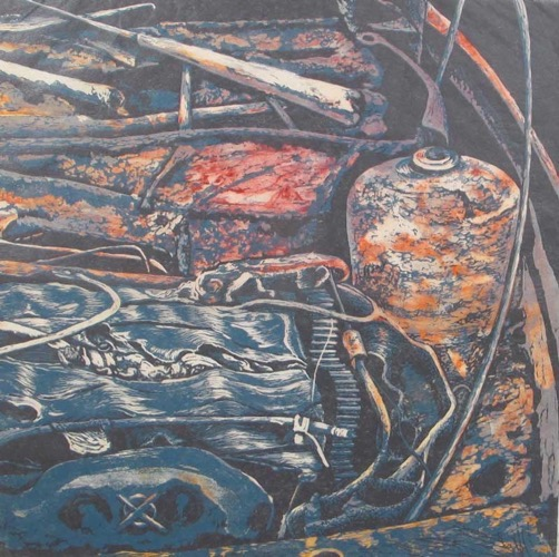 After the Fire: Diptych (right side) etching and lino cut 46 x 46 cm