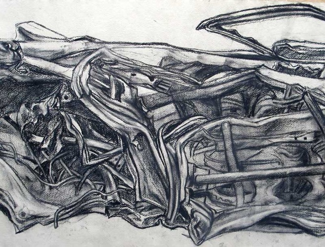 Bombed Car from Iraq (detail 1) charcoal 77 x 58 cm