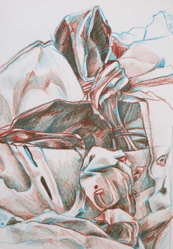 Detail of Bombed Car, Iraq (2) coloured pencil 41 x 27 cm