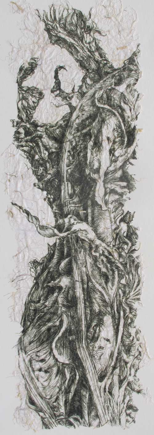 Fragment: Dried Leaves drypoint on handmade paper 20 x 60 cm