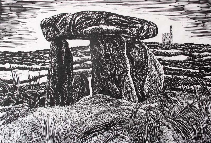 Lanyon Quoit, West Cornwall lino cut 22 x 31 cm