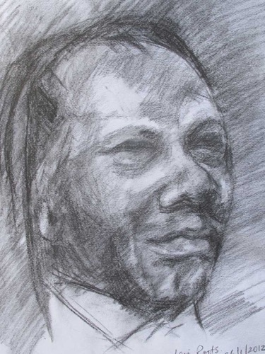 Levi Roots at the National Gallery charcoal 29 x 33 cm