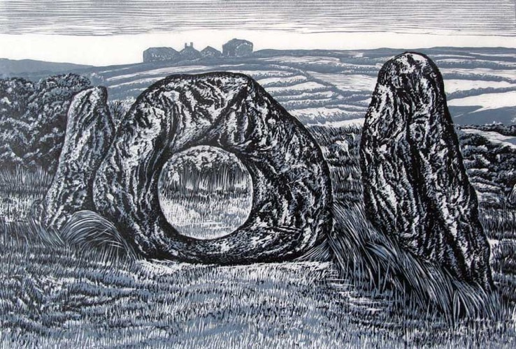 Men-an-Tol, West Cornwall lino cut 21 x 30 cm