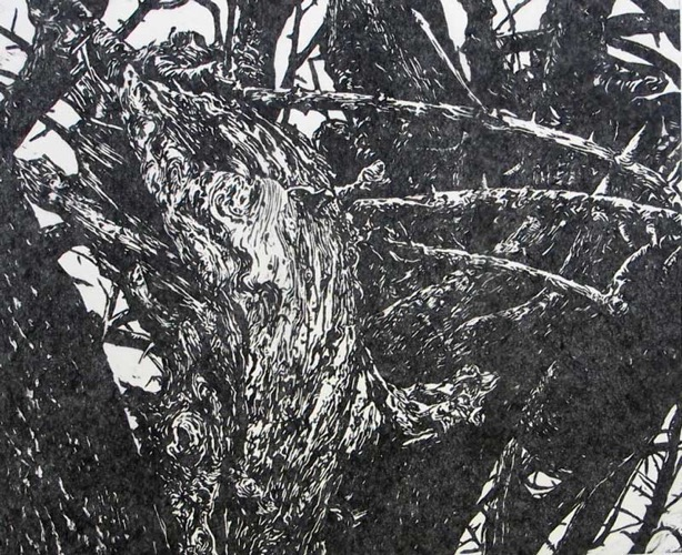 Monster in the Hedgerow Woodcut 50 x 61 cm