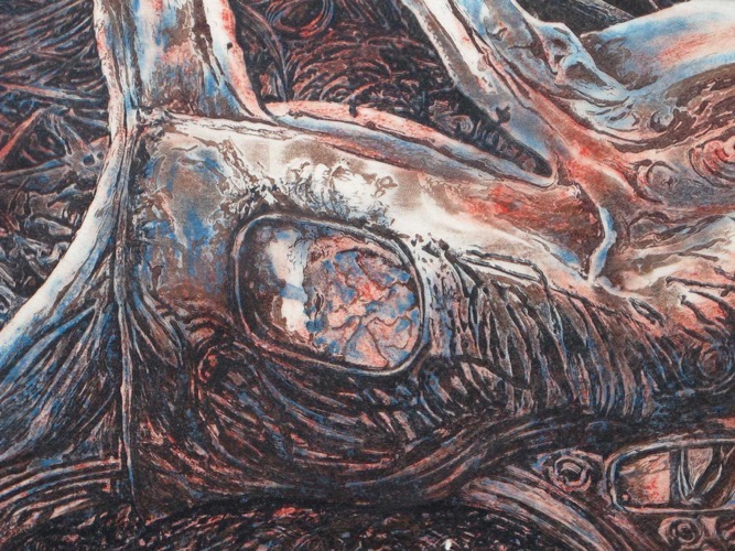 Rusting-car,-detail,-lino-print