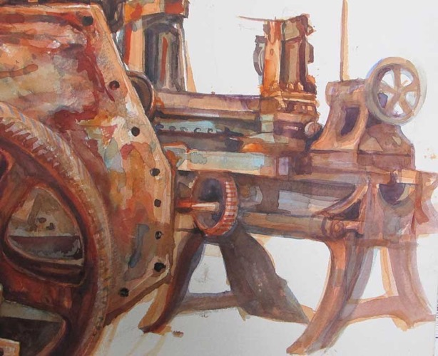 Rusty Machinery (2), Geevor Mine, Cornwall watercolour 20 x 25 cm