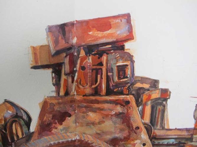 Rusty Machinery (1), Geevor Mine, Cornwall watercolour 29 x 29 cm