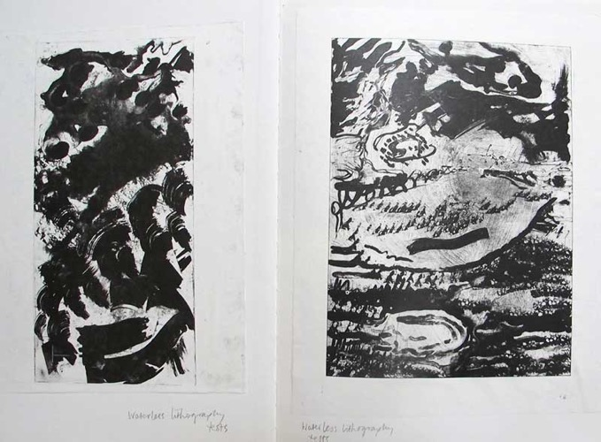 Two Sketchbook Pages (Black and White) 48 x 32 cm
